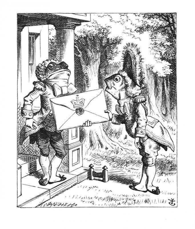 For the Duchess. An invitation from the Queen to play croquet.' tenniel-wonderland-19.jpg