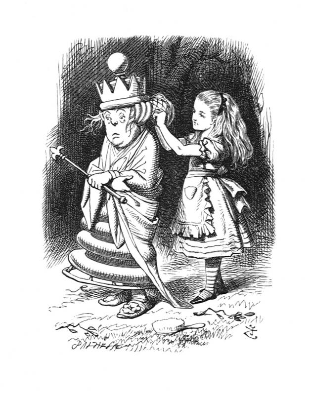 It can't go straight, you know, if you pin it all on one side', Alice said, as she gently put it right for her ... tenniel-glass-67.jpg