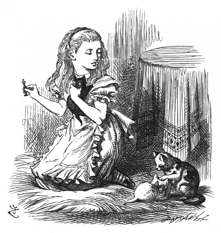 Snowdrop, my pet!' she went on, looking over her shoulder at the White Kitten... tenniel-glass-91.jpg